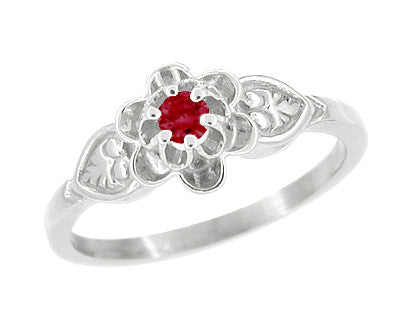 Flowers & Leaves Victorian Ruby Promise Ring in 14 Karat White Gold