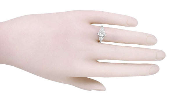 Floral Victorian White Sapphire Engagement Ring in 14 Karat White Gold - Item: R373W25WS - Image: 2