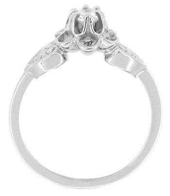Floral Victorian White Sapphire Engagement Ring in 14 Karat White Gold - Item: R373W25WS - Image: 1