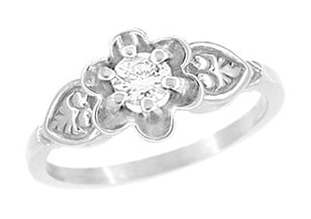 Floral Victorian White Sapphire Engagement Ring in 14 Karat White Gold
