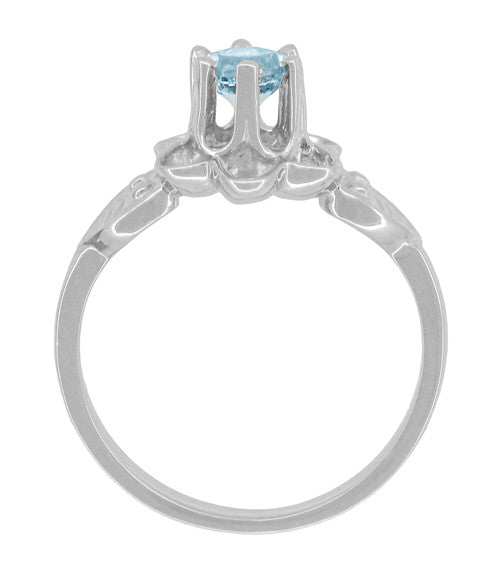 Flowers and Leaves Aquamarine Engagement Ring in 14 Karat White Gold - Item: R373WA - Image: 4