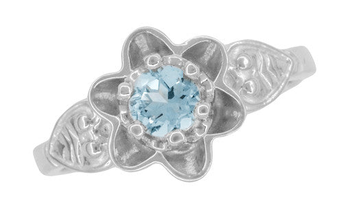 Flowers and Leaves Aquamarine Engagement Ring in 14 Karat White Gold - Item: R373WA - Image: 5
