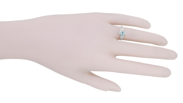 Flowers and Leaves Aquamarine Engagement Ring in 14 Karat White Gold - Item: R373WA - Image: 6
