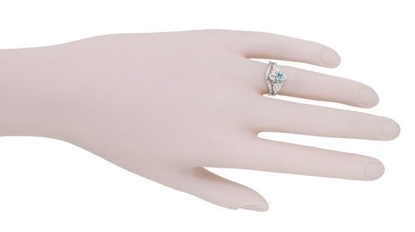 Flowers and Leaves Aquamarine Engagement Ring in 14 Karat White Gold - Item: R373WA - Image: 7