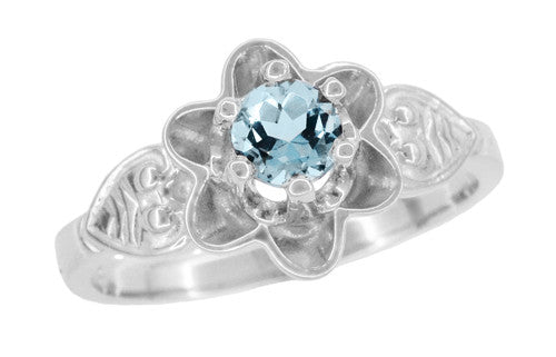 Flowers and Leaves Aquamarine Engagement Ring in 14 Karat White Gold - Item: R373WA - Image: 1