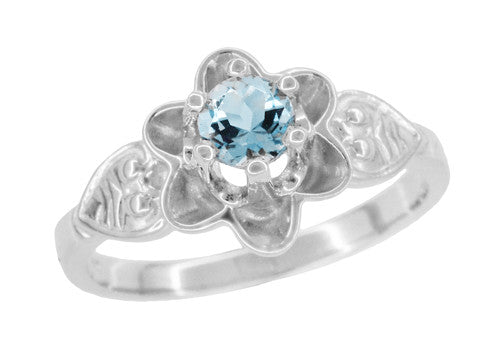 Flowers and Leaves Aquamarine Engagement Ring in 14 Karat White Gold