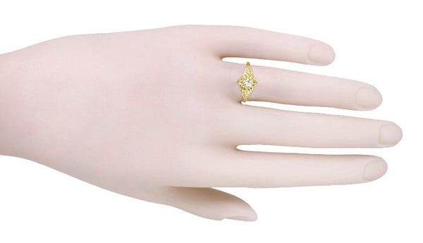 Flowers and Leaves Diamond Promise Ring in 14 Karat Yellow Gold - Item: R373Y - Image: 2