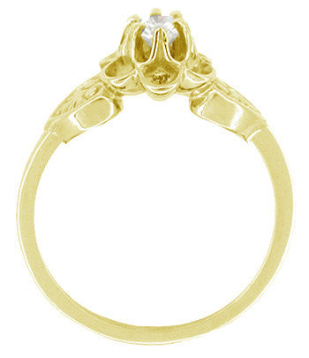 Flowers and Leaves Diamond Promise Ring in 14 Karat Yellow Gold - Item: R373Y - Image: 1