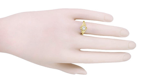 Vintage Buttercup 1/4 Carat Diamond Victorian Engagement Ring in Yellow Gold - Item: R373Y25 - Image: 2