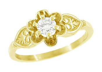 Vintage Buttercup 1/4 Carat Diamond Victorian Engagement Ring in Yellow Gold