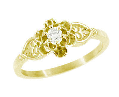 Flowers and Leaves Diamond Promise Ring in 14 Karat Yellow Gold