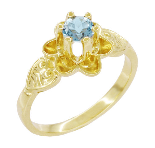 Victorian Flowers Aquamarine Birthstone Engagement Ring in 14 Karat Yellow Gold - Item: R373YA - Image: 2