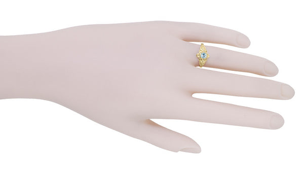 Victorian Flowers Aquamarine Birthstone Engagement Ring in 14 Karat Yellow Gold - Item: R373YA - Image: 6