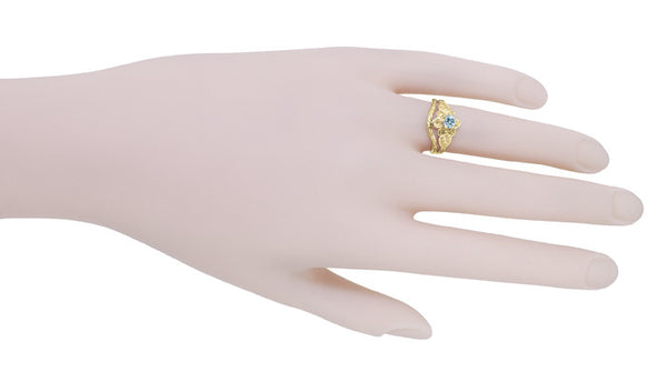 Victorian Flowers Aquamarine Birthstone Engagement Ring in 14 Karat Yellow Gold - Item: R373YA - Image: 7