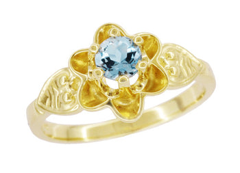Flowers and Leaves Aquamarine March Birthstone Engagement Ring in 14 Karat Yellow Gold
