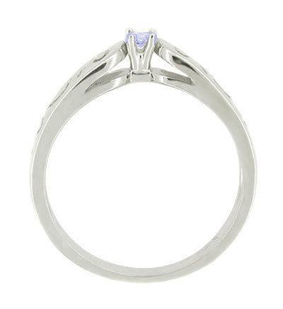 Filigree Scrolls Tanzanite Promise Ring in 14 Karat White Gold - Item: R375TA - Image: 1