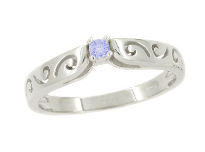 Filigree Scrolls Tanzanite Promise Ring in 14 Karat White Gold