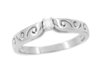 Filigree Scrolls White Sapphire Promise Ring in 14 Karat White Gold