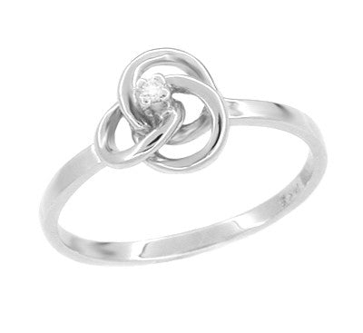 Love Knot Diamond Ring in 14 Karat White Gold