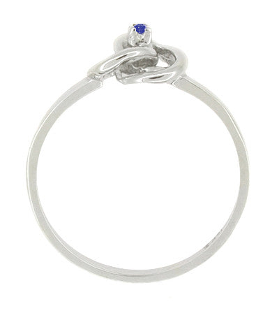 Blue Sapphire Love Knot Ring in 14 Karat White Gold - Item: R376S - Image: 1