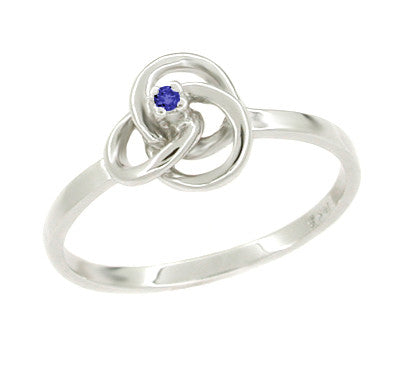 Blue Sapphire Promise Ring - 1950s Vintage Love Knot in White Gold 10K or 14K - R376S
