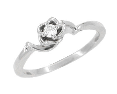 Retro Moderne Rose Diamond Promise Ring in 14 Karat White Gold
