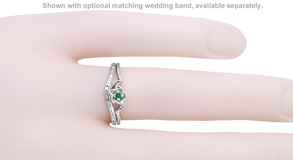 Retro Moderne Rose Emerald Promise Ring in 14 Karat White Gold - Item: R377E - Image: 2