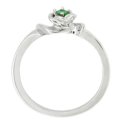 Retro Moderne Rose Emerald Promise Ring in 14 Karat White Gold - Item: R377E - Image: 1
