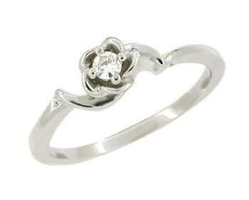 Retro Moderne Rose White Sapphire Promise Ring in 14 Karat White Gold
