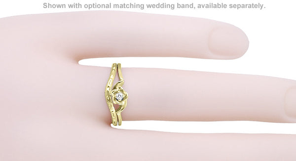 Retro Moderne Blooming Rose Diamond Promise Ring in 14K Yellow Gold - Item: R377Y - Image: 2