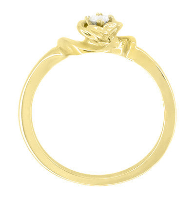 Retro Moderne Blooming Rose Diamond Promise Ring in 14K Yellow Gold - Item: R377Y - Image: 1