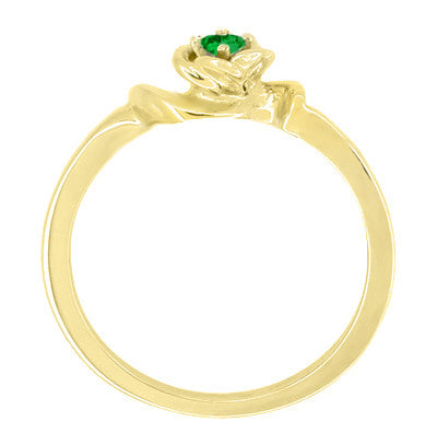 Retro Moderne Rose Emerald Ring in 14 Karat Yellow Gold - May Birthstone - Item: R377YE - Image: 1