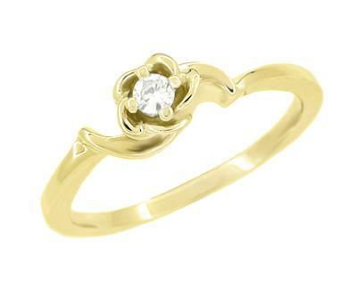 Retro Moderne White Sapphire Rose Bloom Promise Ring in 14 Karat Yellow Gold