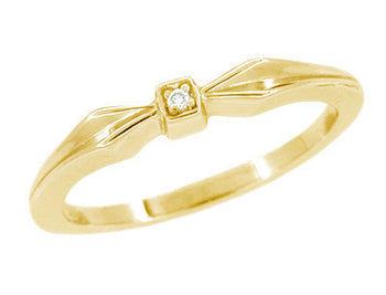 1950's Retro Bow Band - 14K Yellow Gold Diamond Promise Ring