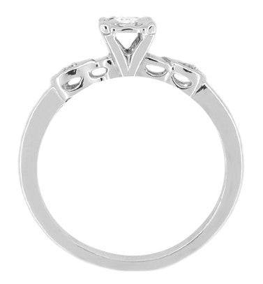 Retro Moderne Circle Illusion Petite Diamond Engagement Ring in 14K White Gold - Item: R380 - Image: 1