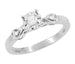 Retro Moderne Circle Illusion Petite Diamond Engagement Ring in 14K White Gold