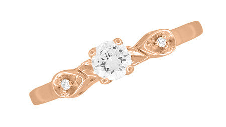 Retro Moderne White Sapphire Engagement Ring in 14 Karat Rose Gold - Item: R380R25WS - Image: 3