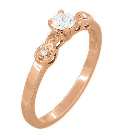 Retro Moderne White Sapphire Engagement Ring in 14 Karat Rose Gold - Item: R380R25WS - Image: 1