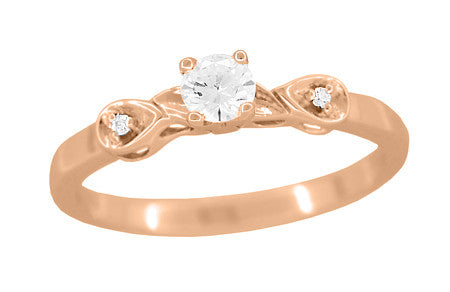 Retro Moderne White Sapphire Engagement Ring in 14 Karat Rose Gold