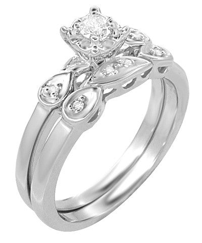 Retro Moderne Diamond Engagement Ring and Wedding Ring Set in 14 Karat White Gold - Item: R380S - Image: 2