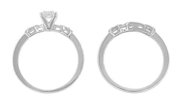 Retro Moderne Diamond Engagement Ring and Wedding Ring Set in 14 Karat White Gold - Item: R380S - Image: 4