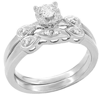 Retro Moderne Diamond Engagement Ring and Wedding Ring Set in 14 Karat White Gold - Item: R380S - Image: 1