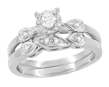 1950's Retro Moderne White Sapphire Bridal Ring Set in 14 Karat White Gold