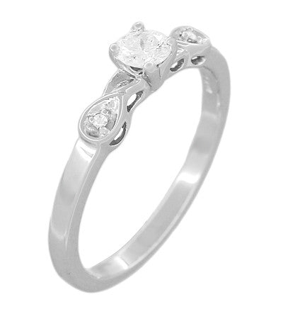 Retro Moderne 1/4 Carat Diamond Engagement Ring in 14 Karat White Gold - Item: R380W25 - Image: 1