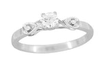 Retro Moderne 1/4 Carat Diamond Engagement Ring in 14 Karat White Gold