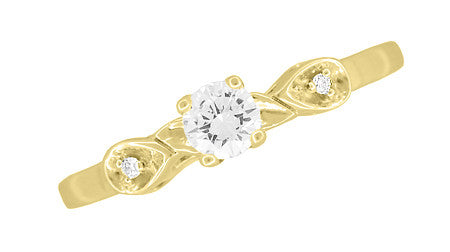 1950's Retro Moderne 1/4 Carat Certified Diamond Engagement Ring in 14K Yellow Gold - Item: R380Y25 - Image: 3