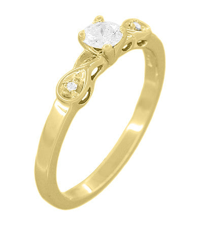 1950's Retro Moderne 1/4 Carat Certified Diamond Engagement Ring in 14K Yellow Gold - Item: R380Y25 - Image: 1