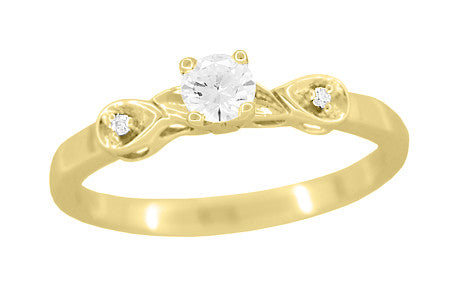 1950's Retro Moderne 1/4 Carat Certified Diamond Engagement Ring in 14K Yellow Gold