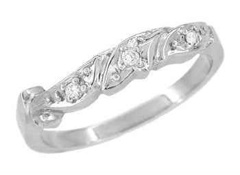 1950's Retro Moderne Scroll Wave Diamond Wedding Ring in 14 Karat White Gold
