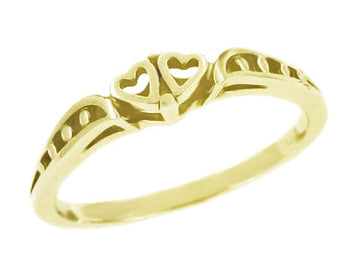 1960's Cuddling Sweet Hearts Filigree Promise Ring in 14 Karat Yellow Gold